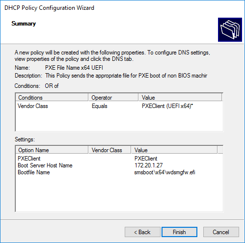 DHCP Policies for PXE Boot